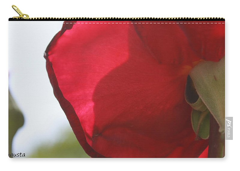 Augusta Stylianou Carry-all Pouch featuring the photograph Red Rose Petal by Augusta Stylianou