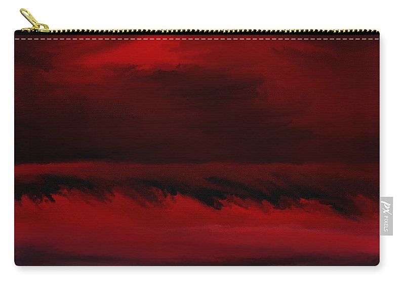 Fine Art Carry-all Pouch featuring the digital art Red Sea Abstract 112711 by David Lane