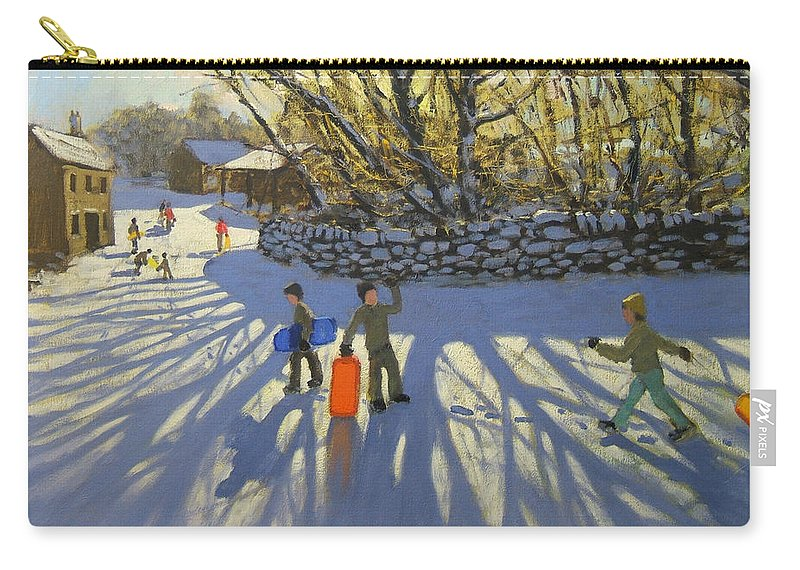 English Landscape Carry-all Pouch featuring the painting Red Sledge by Andrew Macara