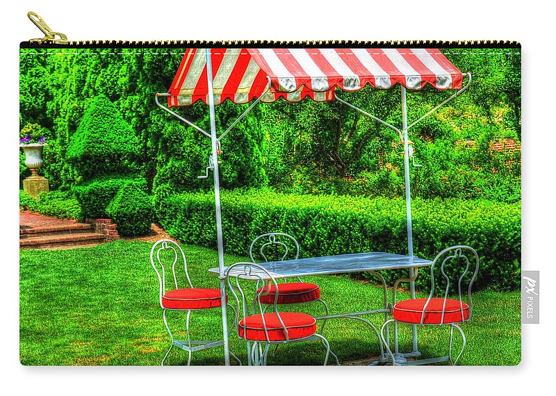 Red Carry-all Pouch featuring the photograph Red Stripes by Debbi Granruth