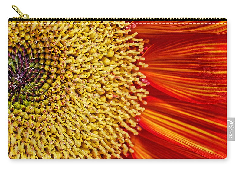 Red Sunflower Carry-all Pouch featuring the photograph Red Sunflower Viiii by Saija Lehtonen