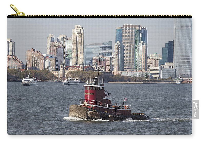 Red Tugboat New York City Skyline Water Carry-all Pouch featuring the photograph Red Tug Two by Alice Gipson