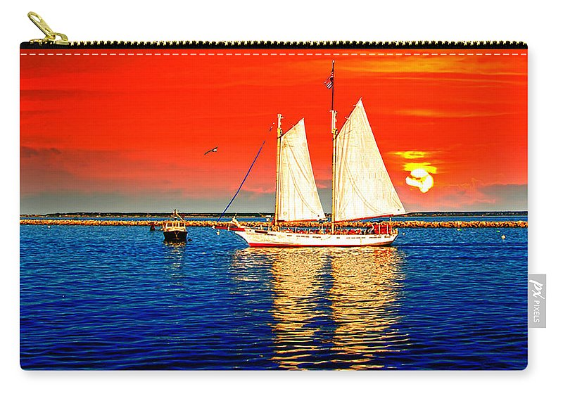 Cape Cod. Out On The Cape Carry-all Pouch featuring the photograph Red White Blue Cape Cod Will Do by Randall Branham
