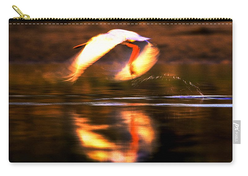 African Spoonbill Carry-all Pouch featuring the photograph Red White Reflection by Alistair Lyne