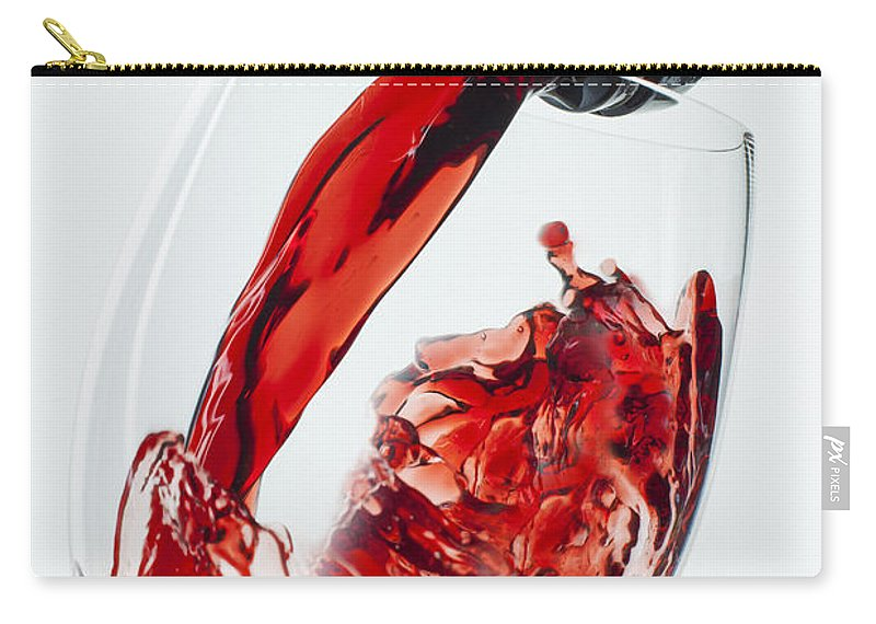 Red Carry-all Pouch featuring the photograph Red Wine Pour by Garry Gay