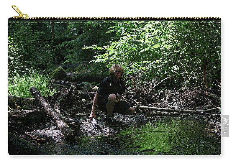 Forest Pond Carry-all Pouch featuring the photograph Reflected In Green by Lorraine Devon Wilke