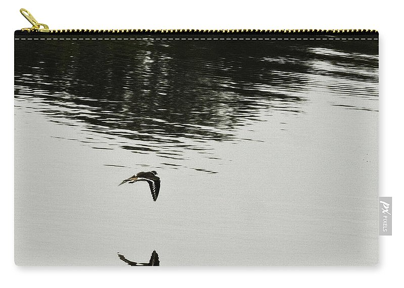 Bird In Flight Over Lake-reflection Carry-all Pouch featuring the photograph Reflection Of Flight by Douglas Barnard