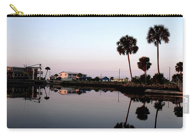 Keaton Beach Marina Carry-all Pouch featuring the photograph Reflections Of Keaton Beach Marina by Marilyn Holkham
