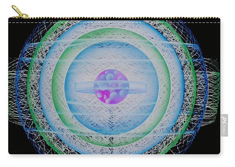 Biology Carry-all Pouch featuring the photograph Rendering Of An Atom by Omikron