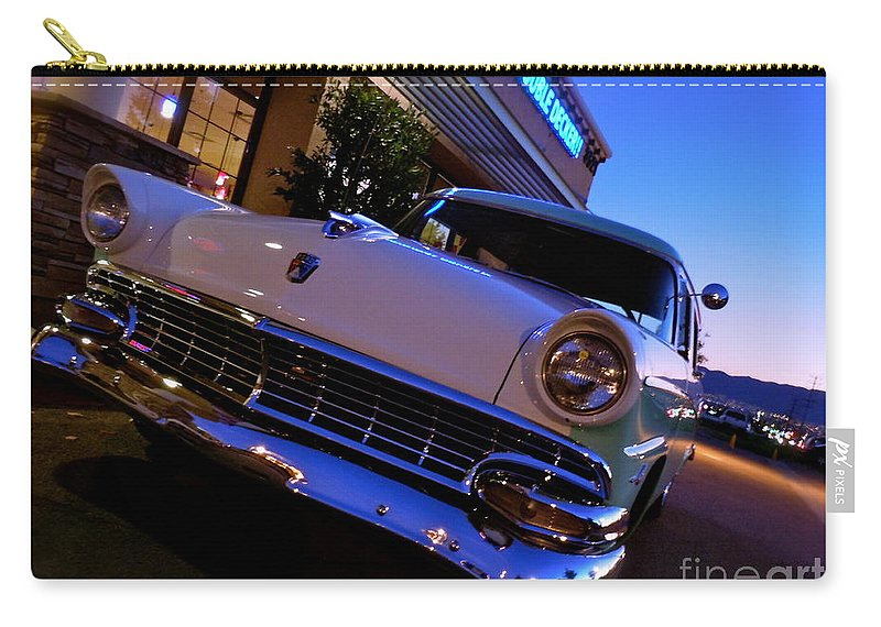 Bob's Big Boy Carry-all Pouch featuring the photograph Retro Ford At Bob's by Customikes Fun Photography and Film Aka K Mikael Wallin