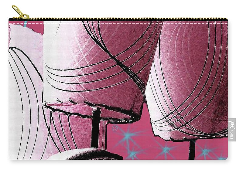 Fifties Carry-all Pouch featuring the digital art Retro In Pink by Lizi Beard-Ward