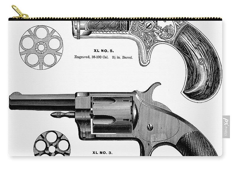 1880s Carry-all Pouch featuring the photograph Revolvers, 19th Century by Granger