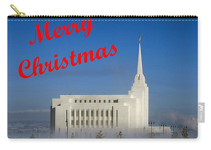 Christmas Cards Carry-all Pouch featuring the photograph Rexburg Temple Christmas by DeeLon Merritt