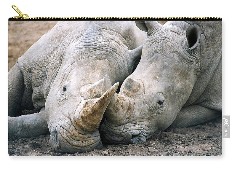 Rhino Carry-all Pouch featuring the photograph Rhino Love by CJ Clark