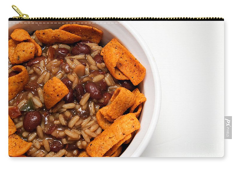 Rice Carry-all Pouch featuring the photograph Rice And Beans With Chile Cheese Fritos by Andee Design