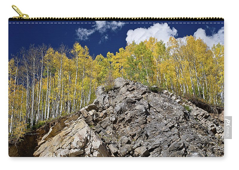Rockies Carry-all Pouch featuring the photograph Ridge Of Golden Aspens by Greg Nyquist