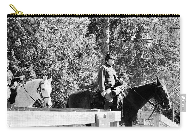 Usa Carry-all Pouch featuring the photograph Riding Soldiers B And W II by LeeAnn McLaneGoetz McLaneGoetzStudioLLCcom