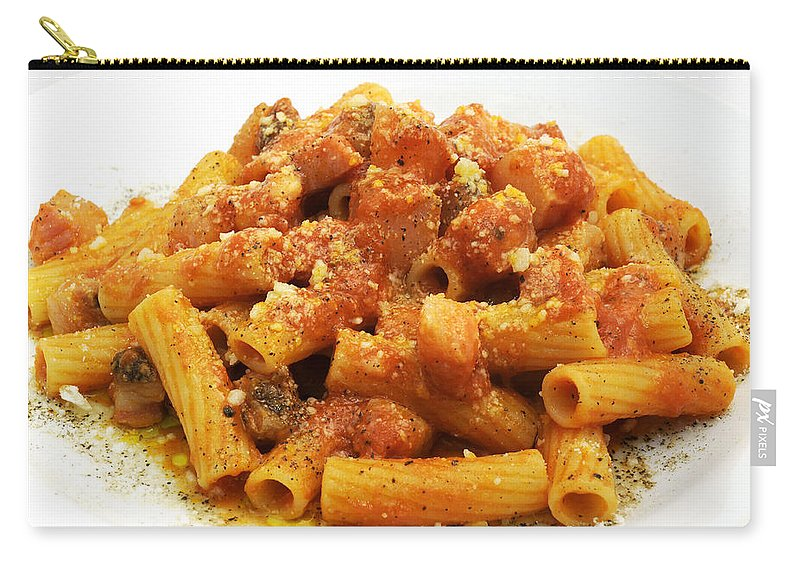 White Background Carry-all Pouch featuring the photograph Rigatoni All'amatriciana by Fabrizio Troiani