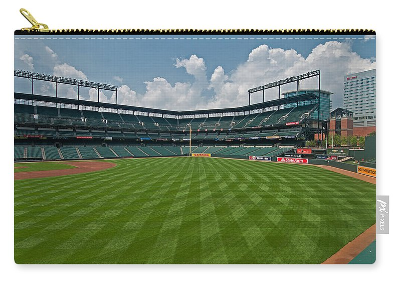 Oriole Park Carry-all Pouch featuring the photograph Right To Left At Oriole Park by Paul Mangold