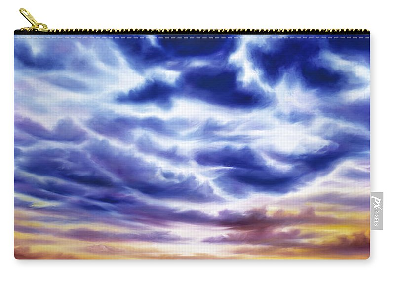 Sunrise; Sunset; Power; Glory; Cloudscape; Skyscape; Purple; Red; Blue; Stunning; Landscape; James C. Hill; James Christopher Hill; Jameshillgallery.com; Ocean; Lakes; Sky; Contemporary; Yellow; Ocean; River; Water Carry-all Pouch featuring the painting Rise by James Christopher Hill