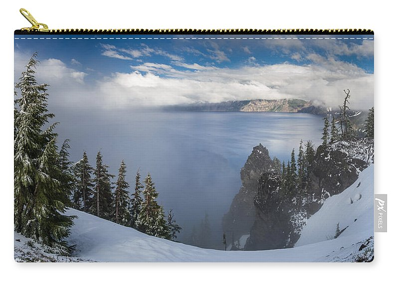 Crater Lake Carry-all Pouch featuring the photograph Rising Mists From Crater Lake Panorama by Greg Nyquist