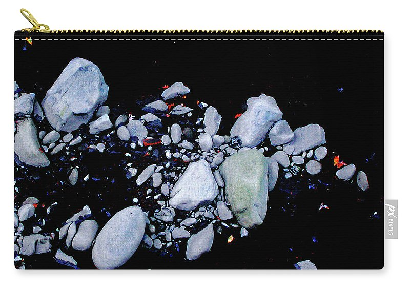 Black White Imagery Carry-all Pouch featuring the digital art River Rock by Lizi Beard-Ward