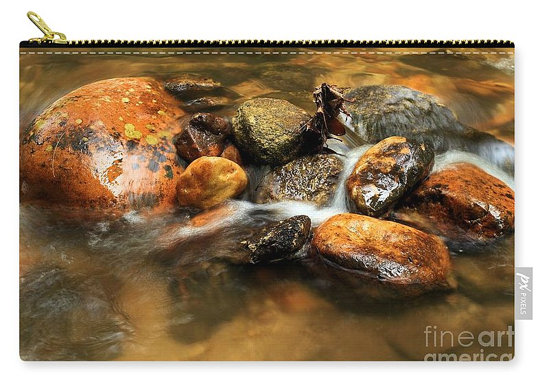 Stone Mountain State Park Carry-all Pouch featuring the photograph River Rocks by Adam Jewell