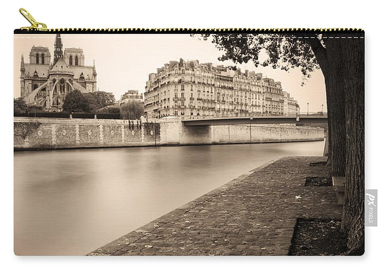 Architectural Carry-all Pouch featuring the photograph River Seine And Cathedral Notre Dame by Brian Jannsen
