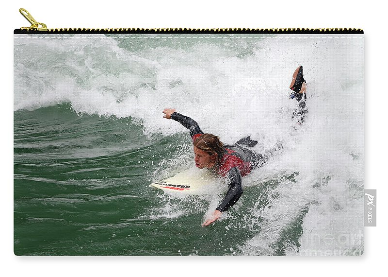 River Carry-all Pouch featuring the photograph River Surfing by Bob Christopher
