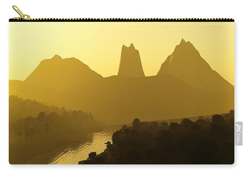 Landscape Carry-all Pouch featuring the digital art River Valley by Svetlana Sewell