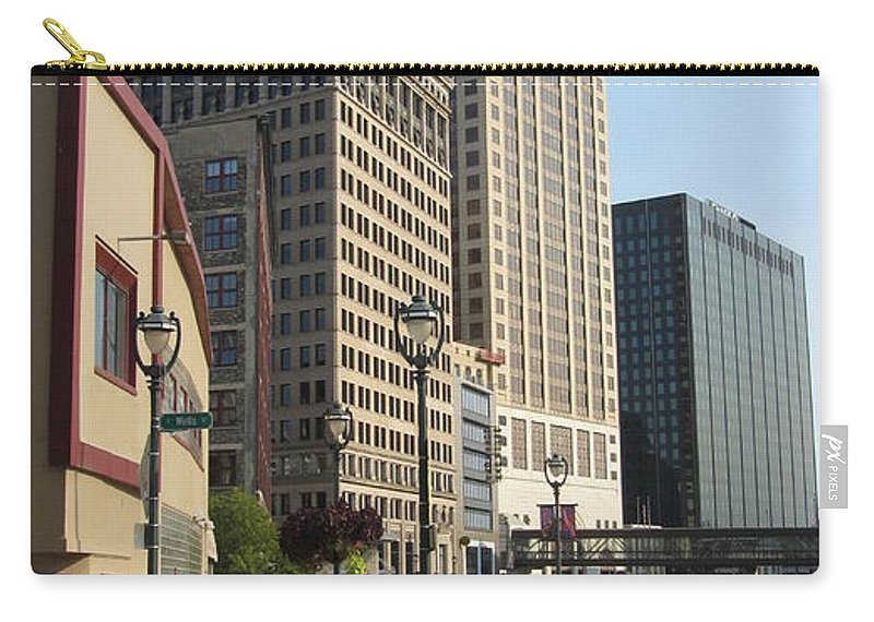 Milwaukee Carry-all Pouch featuring the photograph Riverwalk Crossing by Anita Burgermeister