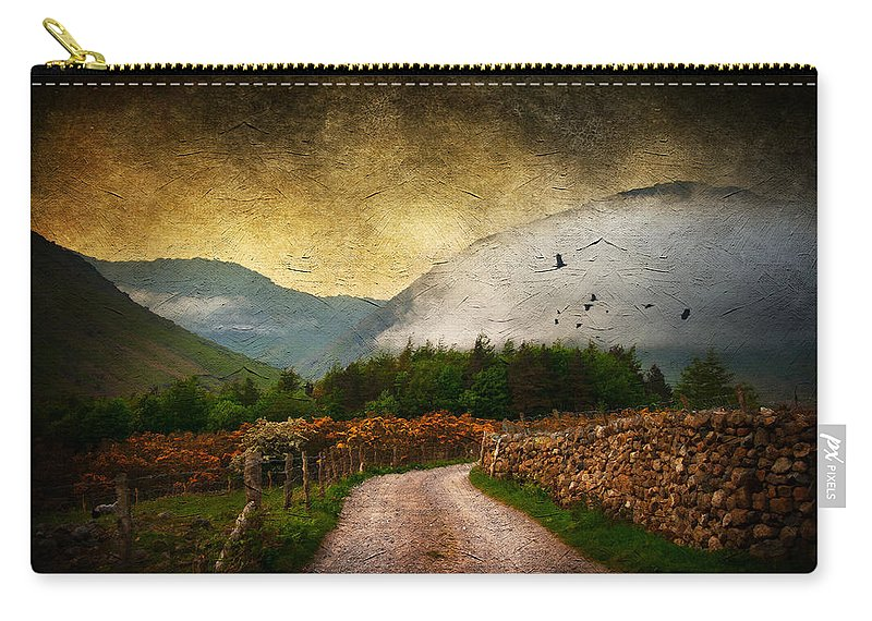 Country Carry-all Pouch featuring the digital art Road By The Lake by Svetlana Sewell