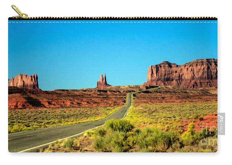 Monument Valley--navajo Carry-all Pouch featuring the photograph Road To Paradise by Robert Bales