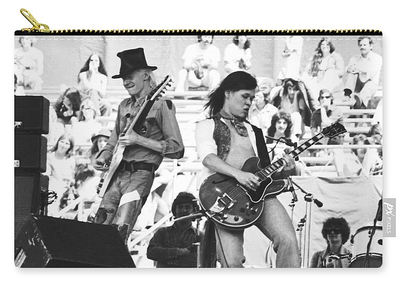 Johnny Winter Carry-all Pouch featuring the photograph Rock And Roll At Day On The Green 1975 by Ben Upham