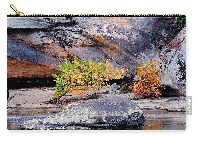 Cumberland River Carry-all Pouch featuring the photograph Rock Shrub And Bluff At Cumberland Falls State Park by Greg Matchick