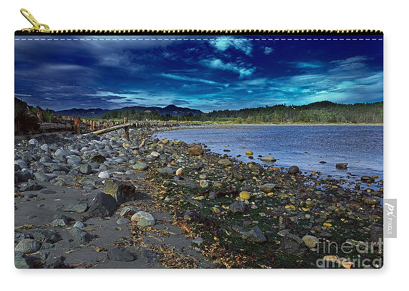 Harbor Carry-all Pouch featuring the photograph Rocky Beach In Western Canada by Louise Heusinkveld