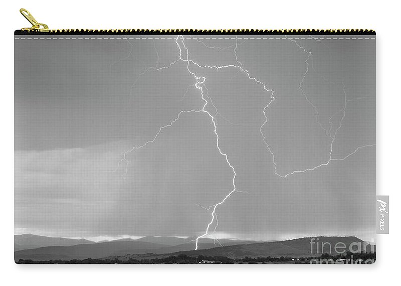 July Carry-all Pouch featuring the photograph Rocky Mountain Front Range Foothills Lightning Strikes 1 Bw by James BO Insogna
