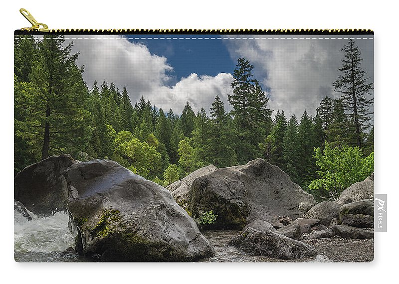 Rogue River Carry-all Pouch featuring the photograph Rogue Bolders by Greg Nyquist
