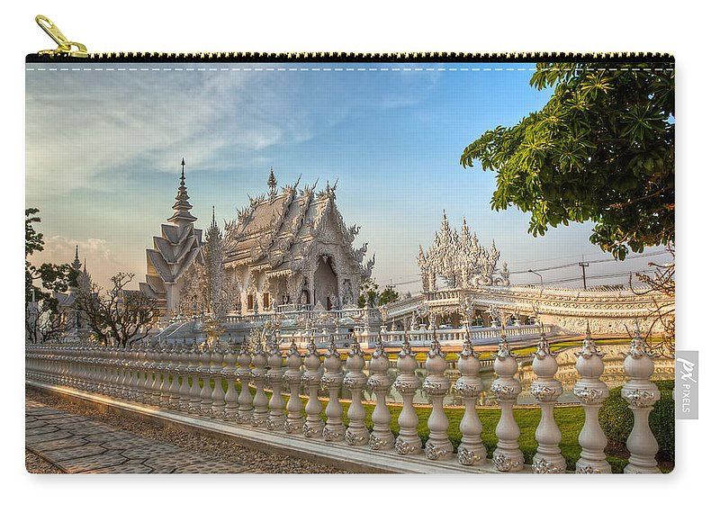 Hdr Carry-all Pouch featuring the photograph Rong Khun Temple by Adrian Evans
