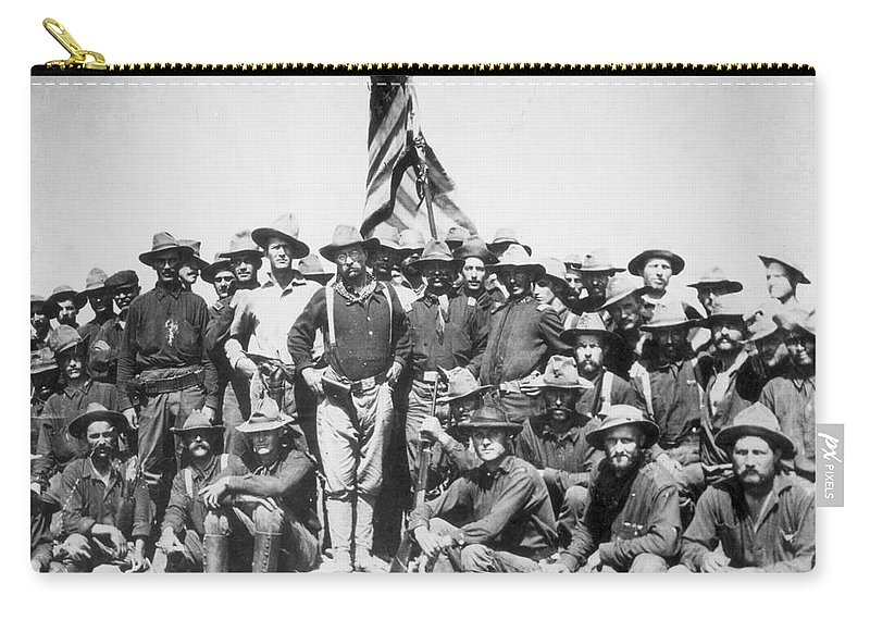 1898 Carry-all Pouch featuring the photograph Roosevelt & Rough Riders by Granger