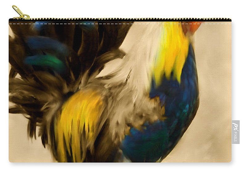 Rooster Carry-all Pouch featuring the painting Rooster On The Prowl 2 - Vintage Tonal by Georgiana Romanovna