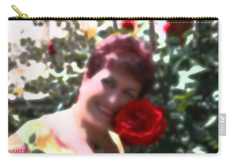 Augusta Stylianou Carry-all Pouch featuring the digital art Rose Love by Augusta Stylianou