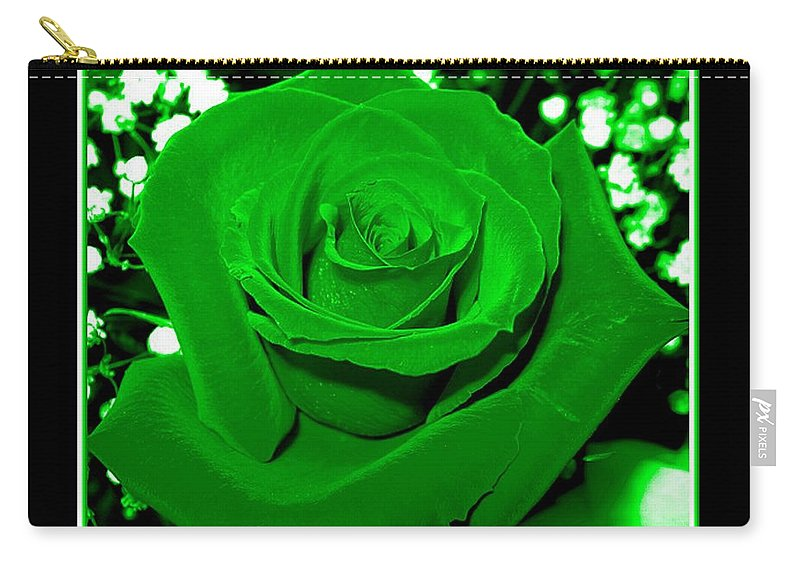 Roses Carry-all Pouch featuring the photograph Rose With Green Coloring Added by Rose Santuci-Sofranko