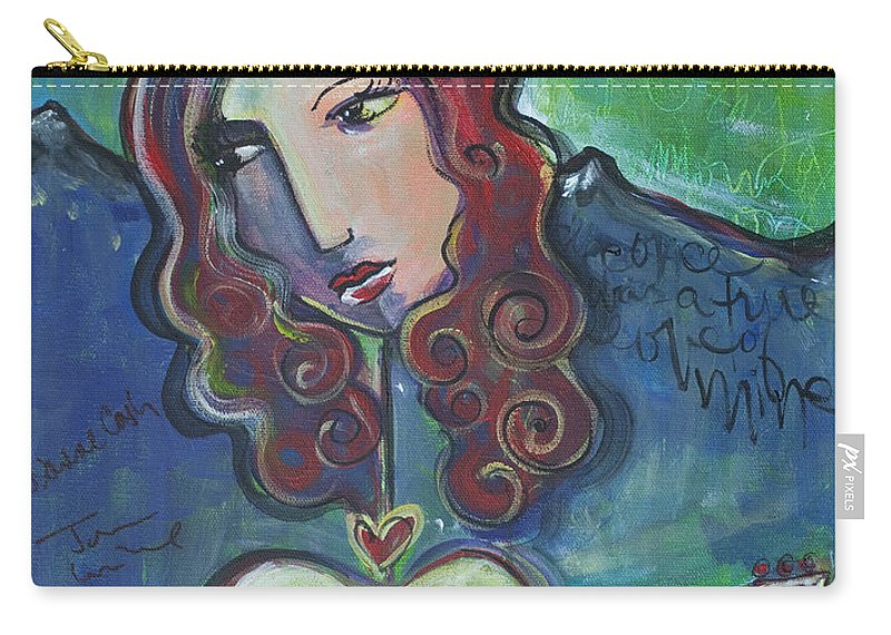 Roseanne Cash Carry-all Pouch featuring the painting Roseanne Cash by Laurie Maves ART