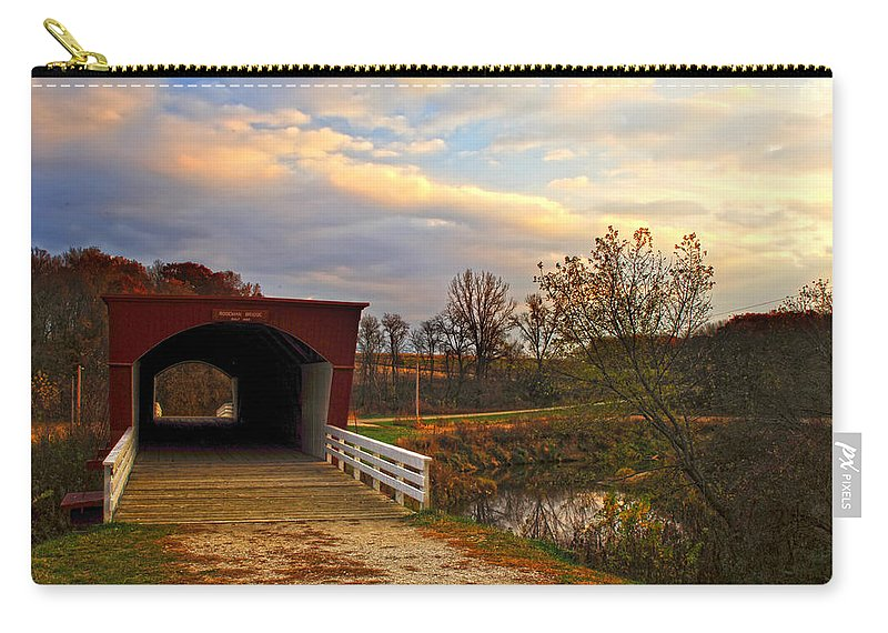 Bridges Of Madison County Carry-all Pouch featuring the photograph Roseman Bridge by Randall Branham