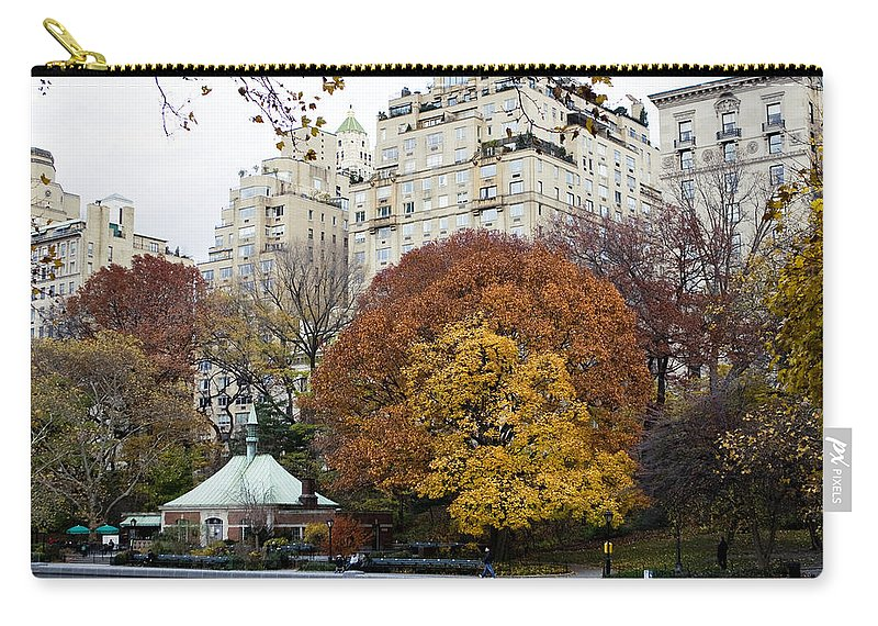 New York City Carry-all Pouch featuring the photograph Round Autumn Trees by Lorraine Devon Wilke