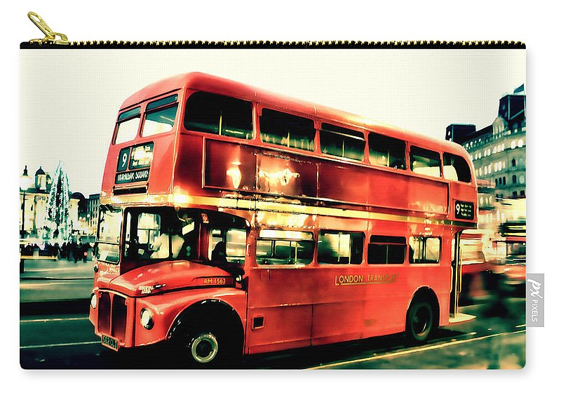Old Bus Carry-all Pouch featuring the photograph Routemaster Retro Pop Art by Jasna Buncic