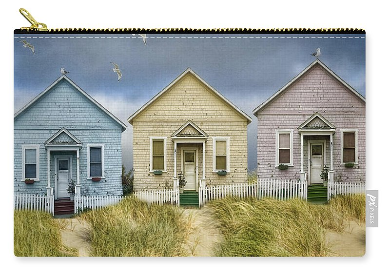 Pastel Carry-all Pouch featuring the photograph Row Of Pastel Colored Beach Cottages by Jill Battaglia