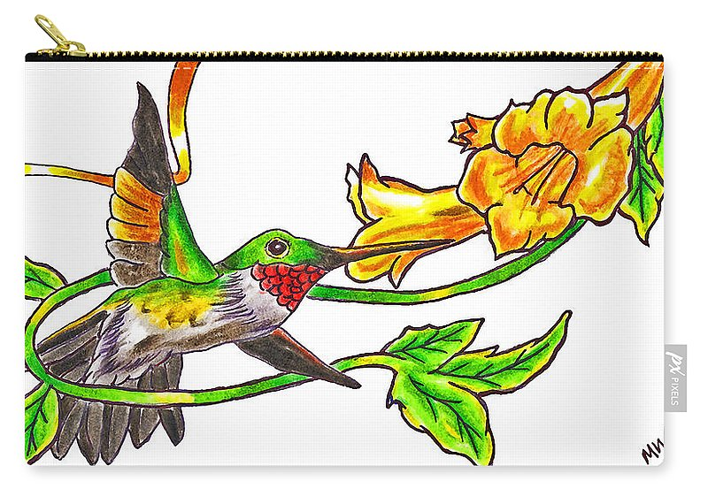 Hummingbird Carry-all Pouch featuring the photograph Ruby Throated Hummingbird by Rich Walter