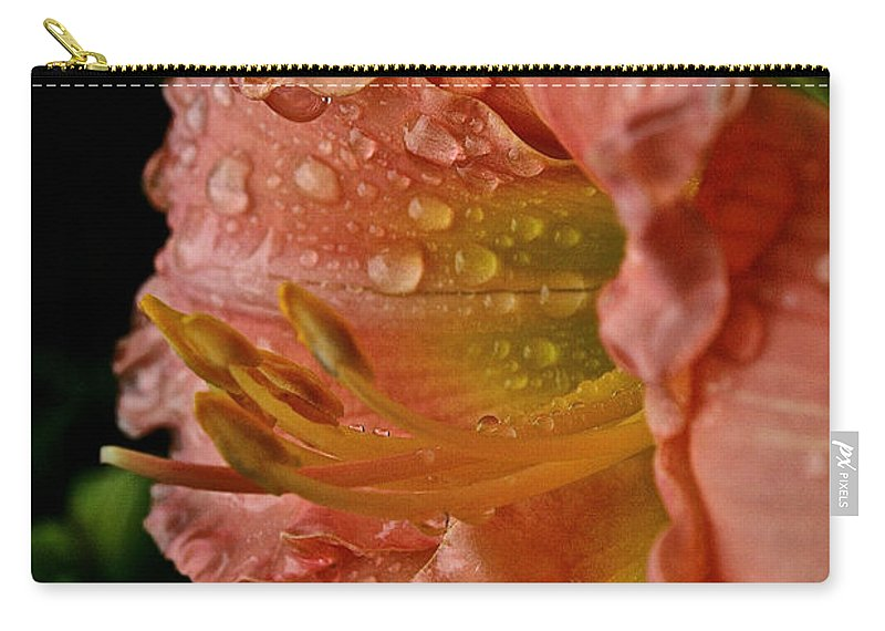Floral Carry-all Pouch featuring the photograph Ruffles And Rain by Susan Herber